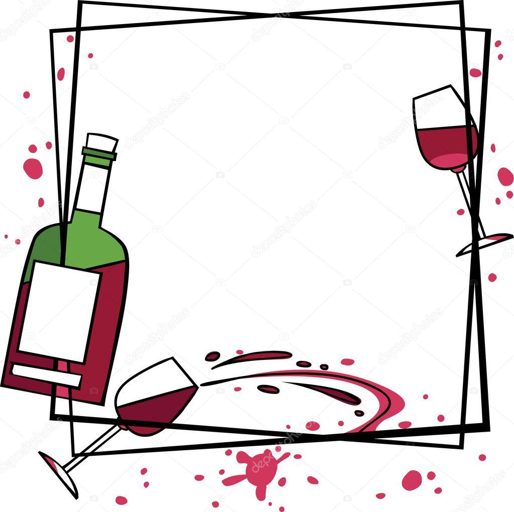 装饰手绘图框架与酒– 图库插图