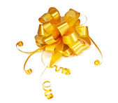 Gold ribbon bow — Stock Photo