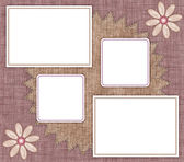 Frames for photos with pink fabric — Stock Photo