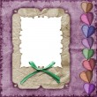 Greeting frame decorated with bow — Stock Photo #3001007