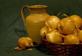 Vintage Still Life with onions and Ceramic pitcher — Stock Photo