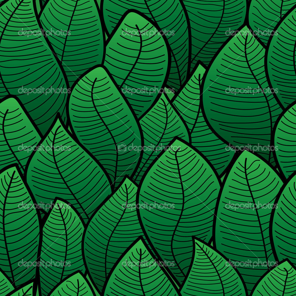 Abstract background of green leaf. Seamless pattern. Vector illustration.  Stock Vector #2717302