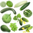 Stock Photo: Set of green fruits and vegetables