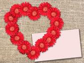 Bouquet de fleurs rouges comme coeur-forme — Photo