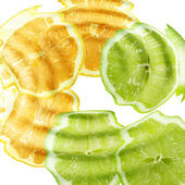 Cross a citrus fruits under water — Stock Photo
