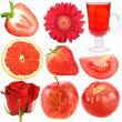 Stock Photo: Set of red fruits, vegetables and flowers