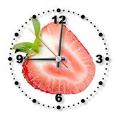 Red strawberry as a office clock — Stock Photo