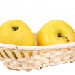 Two  yellow apples in basket — Stock Photo