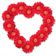 Bouquet of red flowers as heart-form — Stock Photo