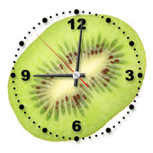 Single cross section of kiwi as a office clock — Stock Photo