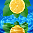 Reflect lemon-slice and leaf in water — Stock Photo