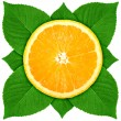 Single cross section of orange with green leaf — Stock Photo