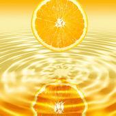 Reflection a single cross section of orange — Stock Photo