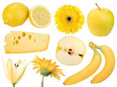 Set of yellow fruits, food and flowers — Stock Photo