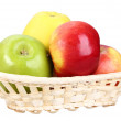 Four apples in basket — Stock Photo