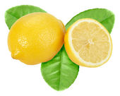 Yellow lemon with green leaf — Stock Photo