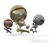Three golden robots dance break dance — Stock Photo