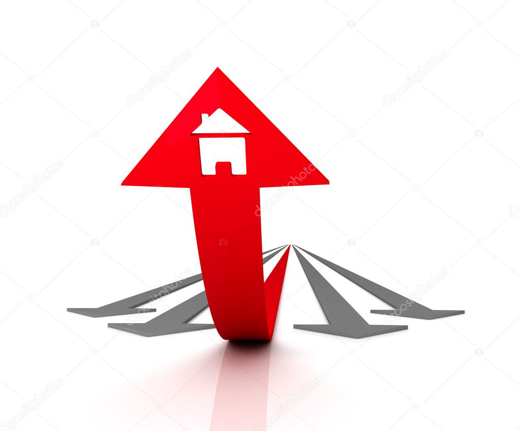 Red arrow with icon of house bends above gray arrows. 3D graphic image — Stock Photo #3162345
