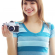 Girl photographs on a white background — Stok fotoğraf