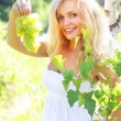 Beautiful girl holding grapes — Stock Photo