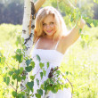Стоковое фото: Beautiful girl near birch