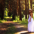Royalty-Free Stock Photo: Girl in a wedding dress in the woods