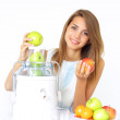Happy girl about juicers — Stock Photo