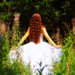 Girl in white dress in forest — Stok Fotoğraf #3647373