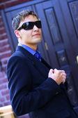 Man in black glasses — Stock Photo