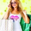 krásná dívka s nákupní tašky — Stock fotografie