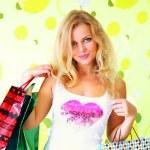 bella ragazza con borse della spesa — Foto Stock