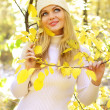 Attractive girl in the autumn forest — Stock Photo #3868058