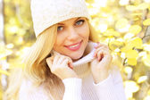 秋天的背景上一个美丽的女孩的肖像 — 图库照片