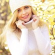 Foto Stock: Portrait of a beautiful girl on a background of autumn