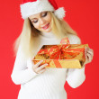 Santa girl on a red background — Stock Photo #3901728