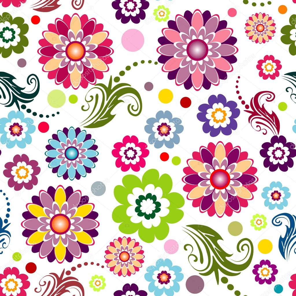 Seamless floral white, red, pink and green vivid pattern (vector) — ベクター素材ストック #2694524