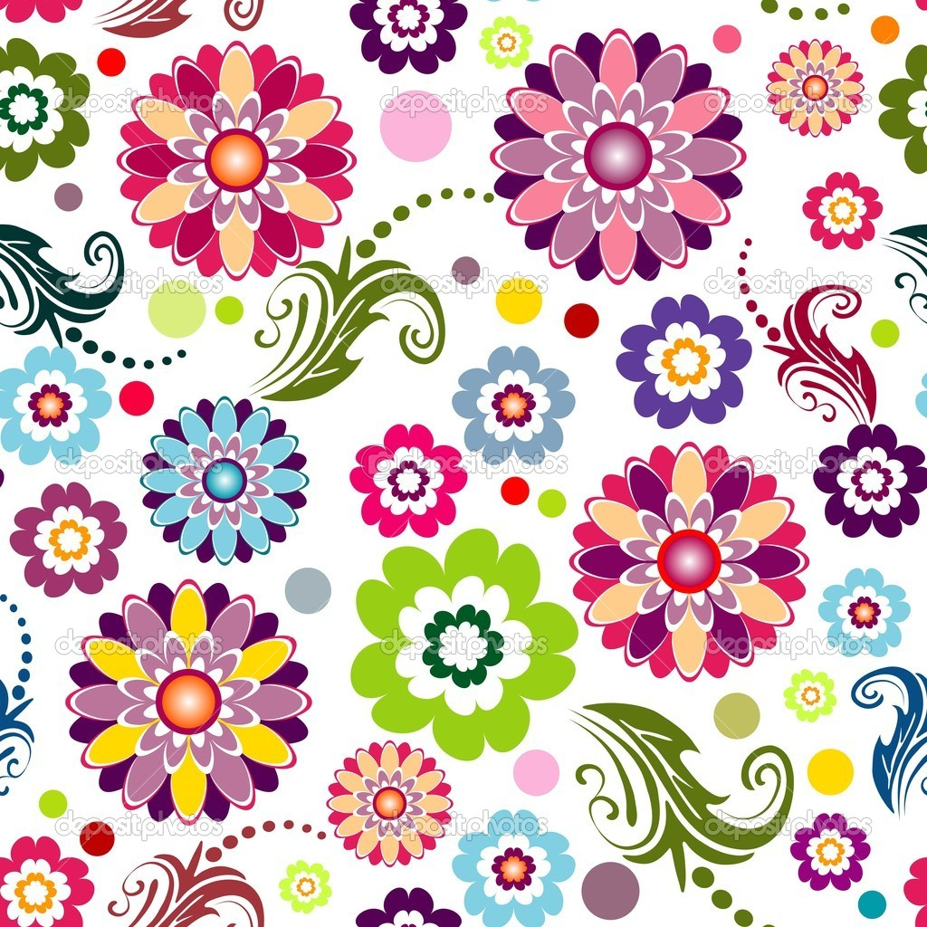 Seamless floral white, red, pink and green vivid pattern (vector)  Stockvectorbeeld #2694524