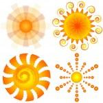 Set decorative suns (vector) — Stock Vector