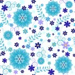 Stock Vector: Seamless blue floral pattern