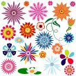 Collection abstract flowers - Stock Vector