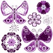 Stock Vector: Set flowers and butterflies