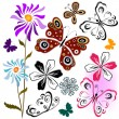Royalty-Free Stock Imagen vectorial: Set butterflies and flowers