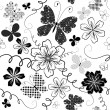Stock Vector: White seamless floral pattern
