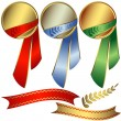 Collection awards with ribbons — Stock Vector