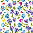 Seamless blue floral pattern — Stock Vector
