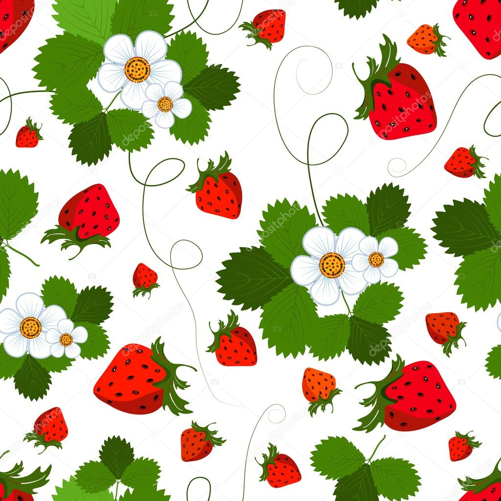 Bright seamless pattern with a strawberry, leaves and flowers (vector) — Stock Vector #3064668