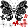 Royalty-Free Stock Vektorgrafik: Set abstract vintage butterflies