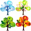 Set abstract trees — Stock Vector
