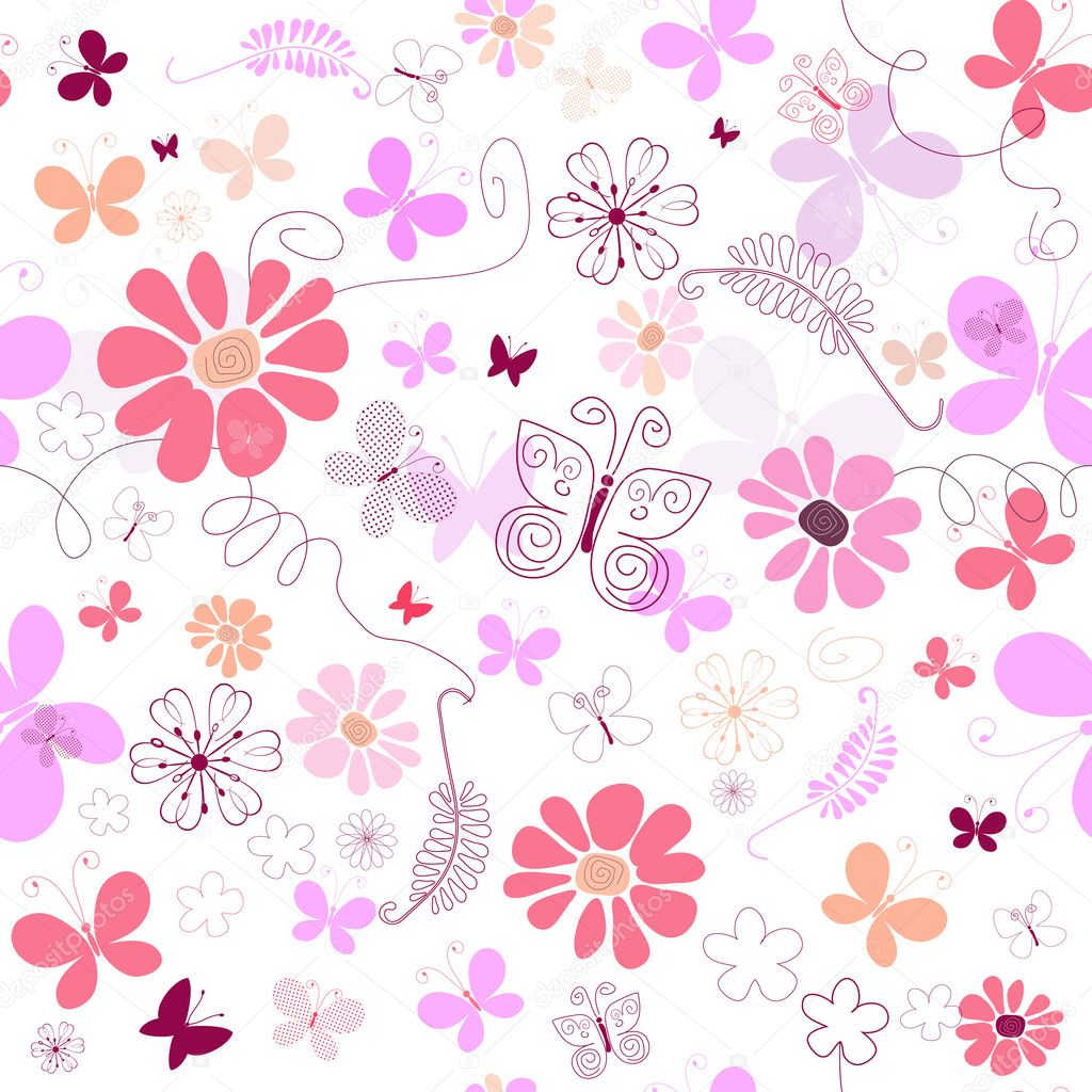 Seamless pink floral pattern - photo#6