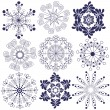 Collection handwork of snowflakes — Stock Vector
